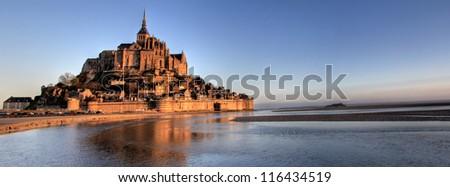 Mont Saint Michel bay taken at dawn. Normandy , France . Panorama