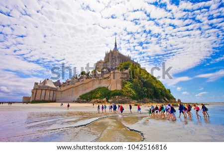 Mont saint Michel, Brittany, France, crossing of the bay