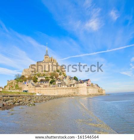 Mont Saint Michel city over sea tide,  France