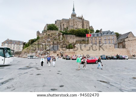 MONT SAINT-MICHEL, FRANCE - JULY 5: Mont Saint-Michel. Mont-Saint-Michel was used in 6-7th centuries as Armorican stronghold, monastic building was establised in 8th century, in France on July 5, 2010