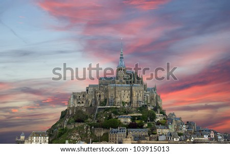 Mont Saint-Michel, Normandy, France--one of the most visited tourist sites in France. Designated as one of the first UNESCO World Heritage Sites in 1979