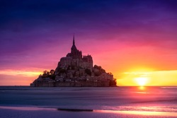 Mont Saint-Michel view in the sunset light. Normandy, northern France