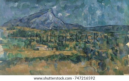 Mont Sainte-Victoire, by Paul Cezanne, 1902-6, French Post-Impressionist painting, oil on canvas. The artist worked on this proto-cubist landscape for over four years
