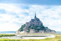 Mont St Michel world famous tourist attraction in Normandy, France - Famous historic place of French culture and heritage