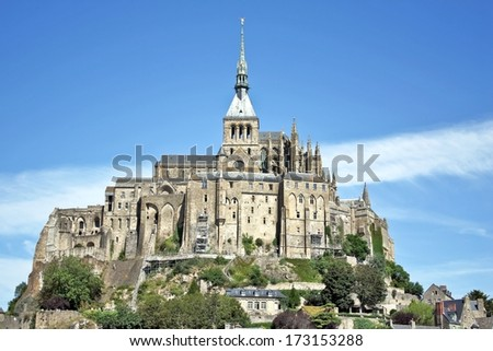 Mont St Michel world famous tourist attraction in northern France - Famous historic place  and symbol of French culture heritage