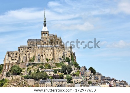 Mont St Michel world famous tourist attraction in northern France - Famous historic place of French culture and world heritage