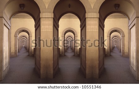 Montage from gallery parts,Florence,Ital y - stock photo