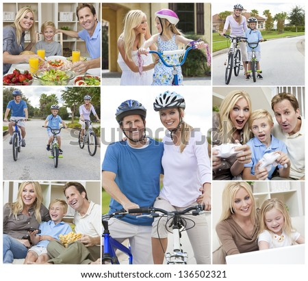 Montage of a happy active young family, parents man and woman, two children a boy and girl relaxing at home, eating healthy food, playing video games and cycling.
