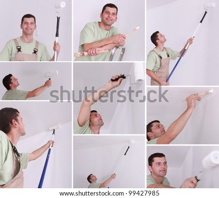 Montage of a man painting a room - stock photo