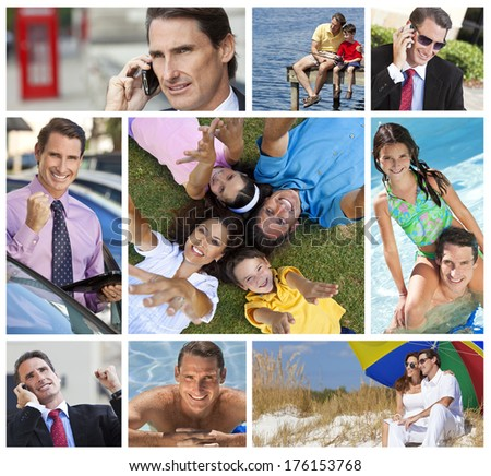 Montage of a successful working man, father and husband balancing working & family life, on cell phone, using tablet computer, at beach, swimming pool & fishing.
