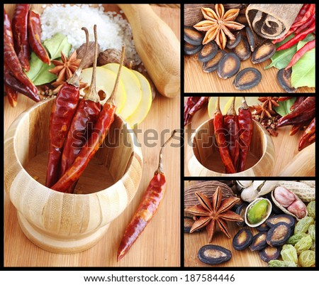Montage of Assorted Spices used in Asian Cooking