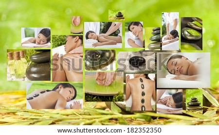 Montage of beautiful Asian & African American, interracial women, woman relaxing at a spa, enjoying massages and different hot stone treatments.
