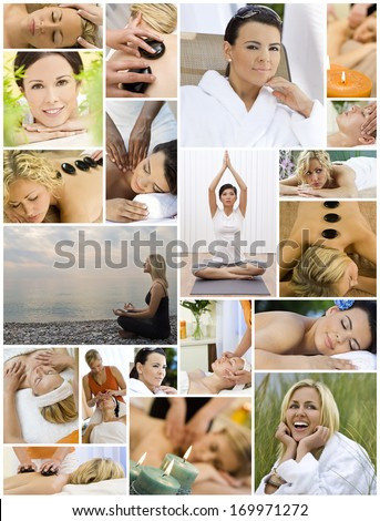 Montage of beautiful interracial women, woman relaxing at a health spa, enjoying head and back massages, hot stone treatments and practicing yoga on the beach and in a gym.