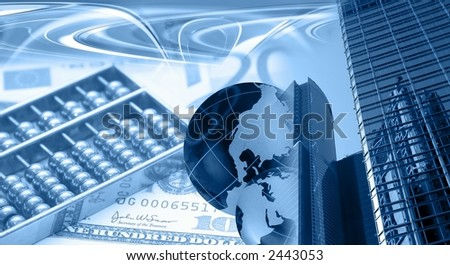 Montage of financial theme, blue Note for reviewer: I am owner of photos used in the montage