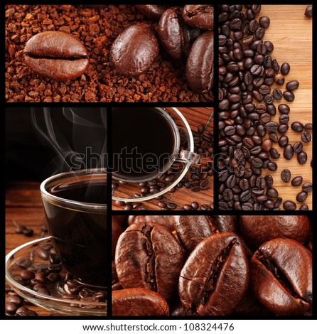 Montage of Fresh Roasted Coffee Beans and Freshly Brewed Coffee