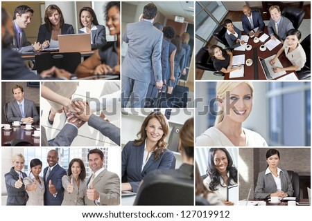 Montage of happy successful men & women, businessmen & businesswomen team colleagues in meeting, offices, using laptop or tablet computers, business travelling, working on the phone and thumbs up