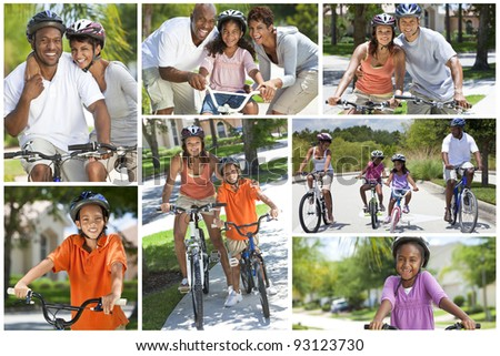 Montage of healthy ethnic families bike riding together