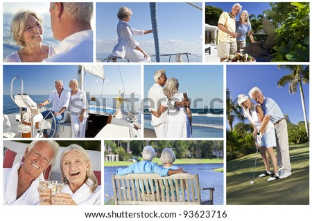 Montage of healthy lifestyle senior retired people and couples sailing, drinking, eating & playing golf