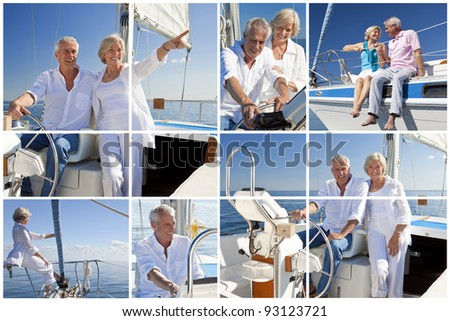 Montage of healthy retired couple steering a course for the future aboard their luxury sailing boat