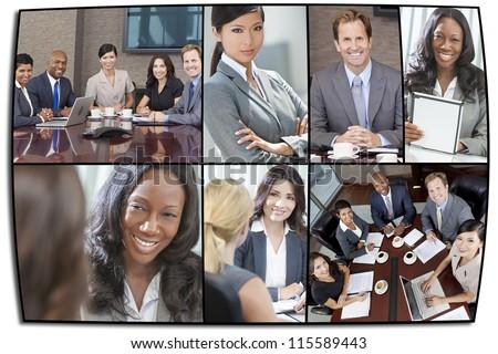 Montage of interracial business group men & women, businessmen and businesswomen team