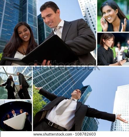 Montage of Interracial business group men & women, businessmen and businesswomen team outdoors