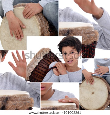 Montage of little boy with African drum