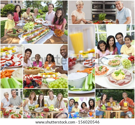 Montage Of Multicultural People, Couple And Families, Father, Mother, Son And Daughter Children Eating Healthy Foods, Salads, Fruit, Ham, Cheese, Cake, Sandwiches, Dining Inside And Outside In Summer