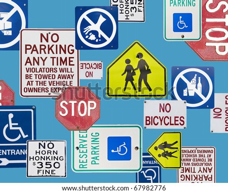 Montage of Numerous street Signs and Signals - stock photo