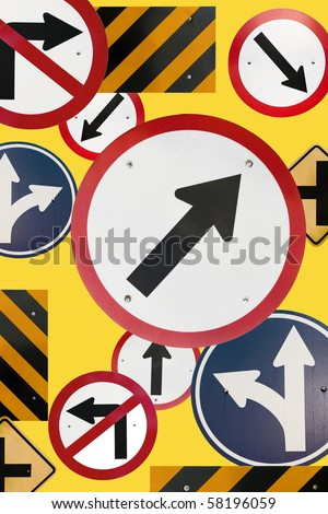 Montage of Numerous Traffic Control Signs and Signals