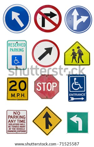 Montage of Numerous Traffic Control Signs and Signals - stock photo