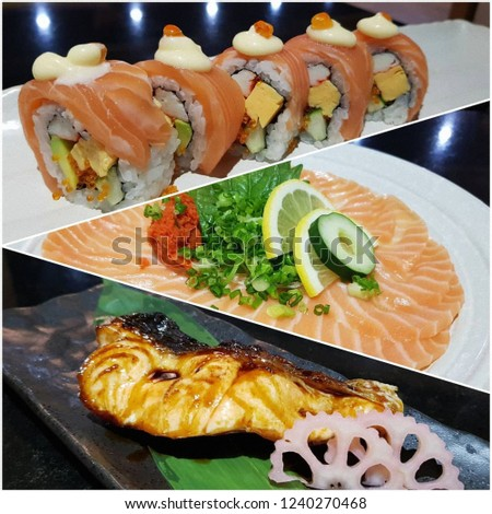 Montage of three pictures of different Japanese foods, inclusing salmon sushis, slices of salmon, and grilled fish.