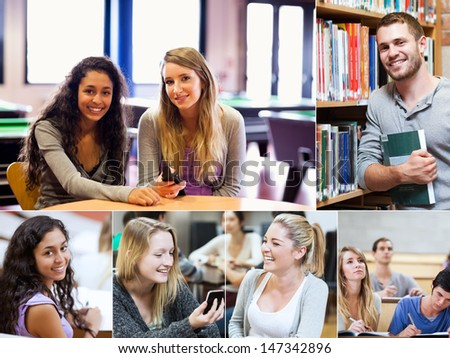 Montage of various pictures showing cheerful students in a library