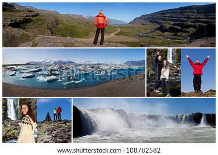 Montage of young couple and people hiking and exploring the landscape of Iceland including Godafoss waterfall and Jokulsarlon iceberg lake #108782582