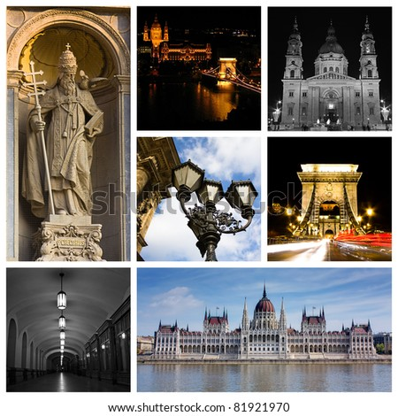 Montage or collage of images from Budapest Hungary
