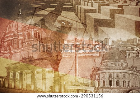 montage photo of Berlin on vintage paper