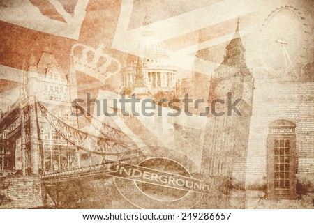 montage photo of London on vintage paper