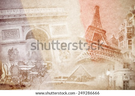 montage photo of Paris on vintage paper