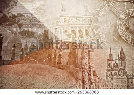 montage photo of Prag on vintage paper