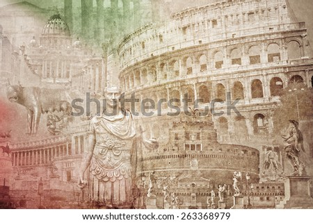 montage photo of rome on...