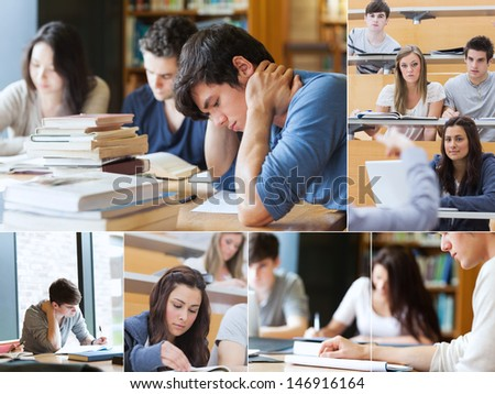 Montage with pictures of students during an exam