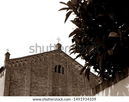 Montagnana, Italy. Old town. San Francesco church, detail. Sepia photo.