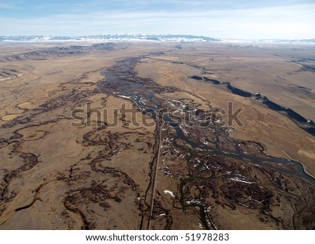 Montana aerial of the Missouri river headwaters.  The western terminus of the great plains.
