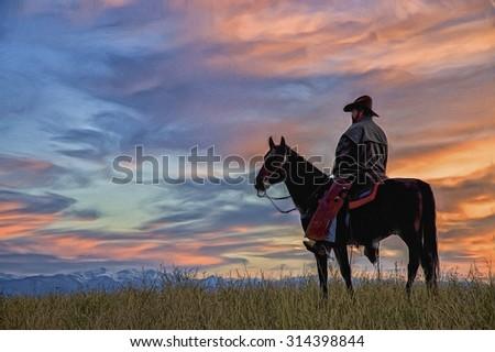Montana cowboy at dawn,digital oil painting