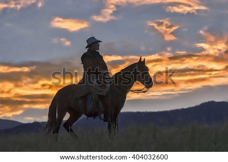 montana cowboy at dawn digital...