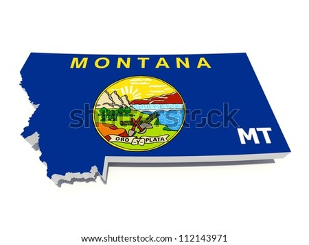 montana state flag on 3D map