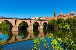 Montauban with bridge and river Tarn in Tarn-et-Garonne department, Occitanie region in southern France