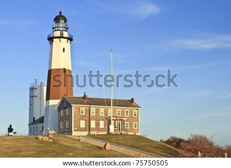 Montauk Lighthouse on a clear April day at the Eastern tip of Long Island, NY