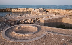 Montazah beach, Alexandria, Egypt. Coastal landscape with ancient stone fortifications