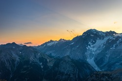 Monte Bianco sunset Mont Blanc summit (4810 m) and his melting glaciers. View from 3000 m in Valle d'Aosta. Summer adventures on the italian french Alps.