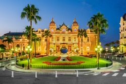 Monte Carlo. Casino, gambling and entertainment complex in Monaco, Cote de Azul, Europe.